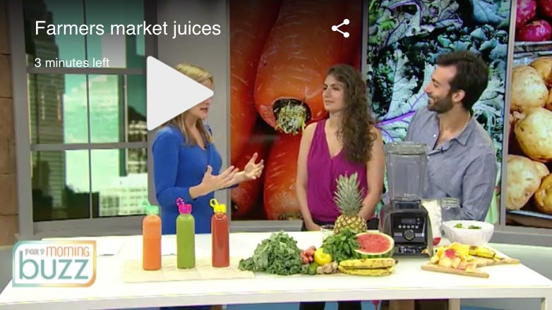 Shalva and Lenny Gale on Fox 9 Buzz discussing farmer's market juices.