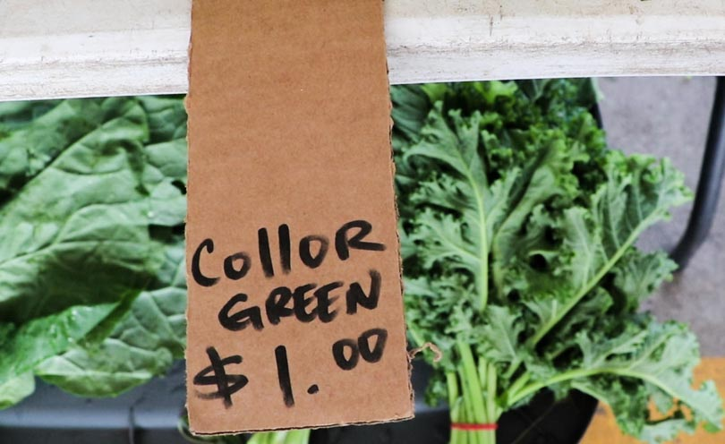 Juicing on a budget with one dollar collard greens from the farmer's market.