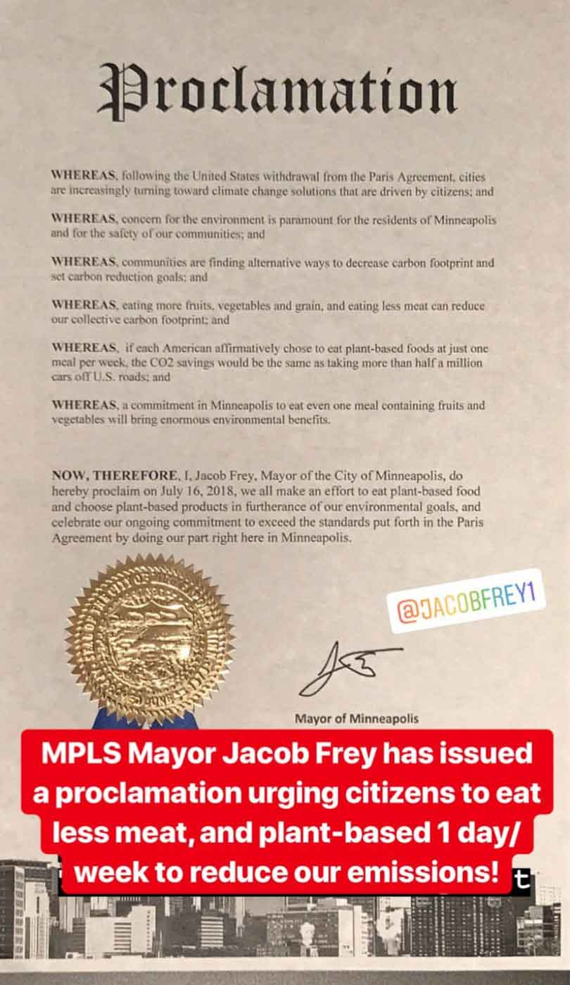 Plant-based proclamation from Minneapolis mayor Jacob Frey