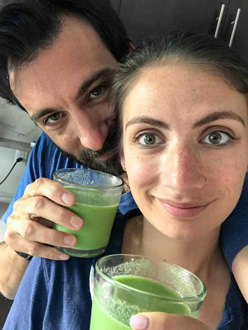 shalva lenny gale drinking green juice