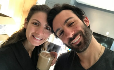 Shalva and Lenny Gale enjoying a frappuccino