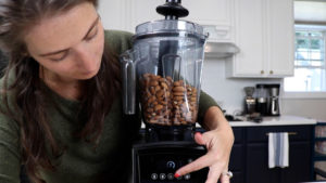 4 cups almond butter in 64-ounce low profile vitamix container