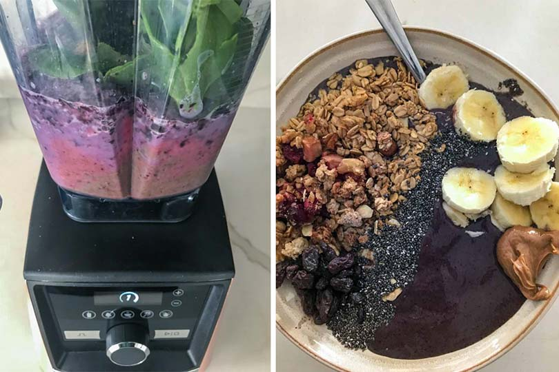 ingredients in 64-ounce low profile vitamix container with served smoothie bowl